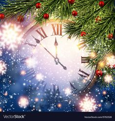 New year clock with snowy background vector image on VectorStock New Year Clock, New Year Images, Christmas Background, Vector Free, Christmas Tree, Holiday Decor, Illustration, Smiley, Adobe Illustrator