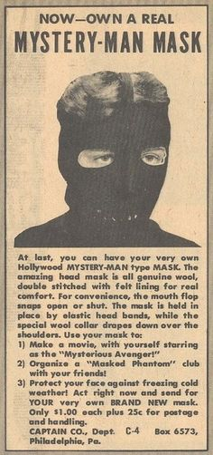 Now-Own Your Own Mystery-Man Mask!