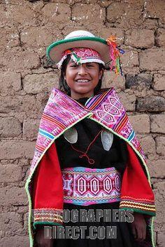 Quechua girl from near Curva, Bolivia wearing traditional dress
