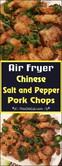 Can we make this w/out an air fryer? Looks so good! Air Fryer Chinese Salt and Pepper Pork Chops are an authentic restaurant quality dish, but at a fraction of calories from deep fried. Air Fryer Recipes Pork, Air Frier Recipes, Pork Chop Recipes, Healthy Chinese Recipes, Asian Recipes, Healthy Food, Yummy Food, Healthy Recipes, Air Fry Pork Chops