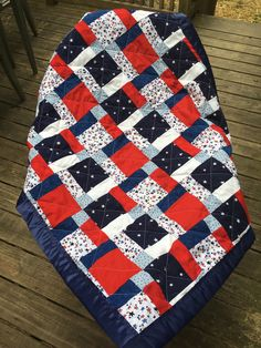 handmade baby quilt, patchwork quilt, red, white, and blue quilt, american quilt, patriotic quilt by QuiltsbyHTH on Etsy