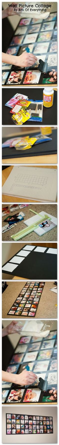 Wall Picture Collage DIY tutorial. This entire project was about $20. Items are:  *48 pictures printed at Walmart .09¢ each (x 48= $4.60) , * 2 - 20×30 black foam core boards ($3 x2 = $6), *Command brand Poster Strips ($2.50), *foam brushes (.97¢), *double sided tape ($2), *Mod Podge ($5),
