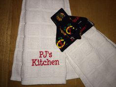 Chicago Blackhawks personalized hanging kitchen towel dad grandpa hockey hockey stanley cup hawks