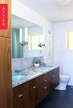 A dated bathroom looks stunning after it's second update. After moving into their forever home, these homeowners did a great job temporarily improving their bathroom while they planned and saved for this larger mid-century modern inspired renovation.