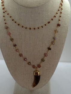 Garnet and Agate Wire Wrap Chain Double Layer Necklace with Tortoise Shell Horn Pendant by Goldenstrand Jewelry