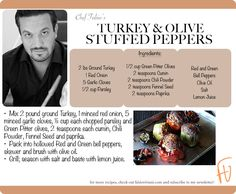 Turkey & Olive Stuffed Peppers #Thanksgiving