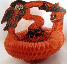 Vintage Halloween Honeycomb Decoration ~ Beistle Owl and Bat Guarding Witches Cauldron ©1925