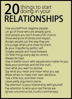 20 THINGS in RELATIONSHIPS with others