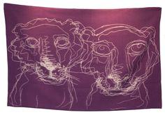 Bjarne Melgaard - Ullpledd fra Røros Tweed, lilla/natur (Begrenset opplag) Tweed, Tapestry, Fine Art, Rose, Pintura, Kunst, Hanging Tapestry, Tapestries, Pink