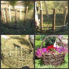 Giant garden wicker basket flower bed.