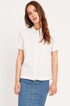 Waven Short-Sleeve Button-Down Shirt in White