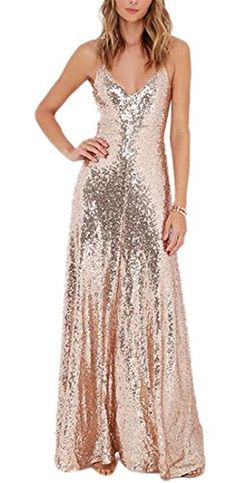 895db14c MACloth Spaghetti Straps V Neck Sequin Formal Dress Rose Gold Bridesmaid  Dress