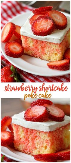 Shortcake Cake Strawberry Shortcake Poke Cake - a delicious, cool treat topped with a cream cheese and cool whip frosting and fresh strawberries. { }Strawberry Shortcake Poke Cake - a delicious, cool treat topped with a cream cheese and cool whip frosting Strawberry Poke Cakes, Homemade Strawberry Shortcake, Strawberry Recipes, Strawberry Shortcake Poke Cake Recipe, Strawberry Farm, Desserts Keto, Desserts For A Crowd, Just Desserts, Dessert Recipes