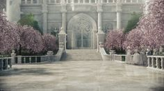 The White Castle of the White Queen. in Wonderland, Burton, White marble interior, with pink and green cherry blossom trees. Fantasy World, Fantasy Art, Queen Aesthetic, Fantasy Castle, White Queen, Red Queen, Adventures In Wonderland, Anime Scenery, Through The Looking Glass
