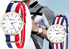 Zegarek Złoty nylonowy pasek Unisex Elegancki EdiBazzar