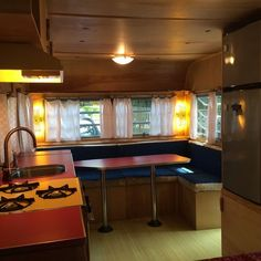 1967 Concord Travel Trailer - love the original lights by the front window