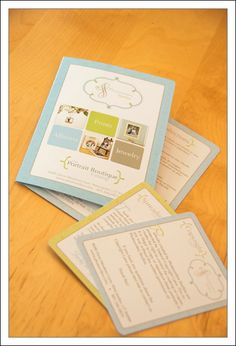 "The cards include a blank ""Thank You"" card where I can hand write a message, a ""Portrait Care Tips"" card that is included with any enlargements, a ""Spread the Love"" card that talks about our referral program, and a ""Copyright Info"" card."