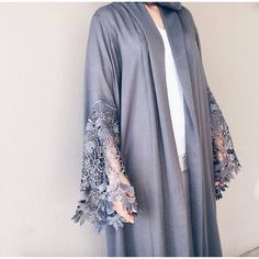 @laillimirza in this sultry grey robe by Qabeela. The lace sleeves are to die for! Limited stock, buy now via link in bio.
