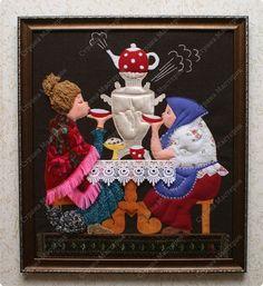 Картина панно рисунок Аппликация Картины из ткани Кружево Нитки Пряжа Сутаж тесьма шнур Ткань фото 2