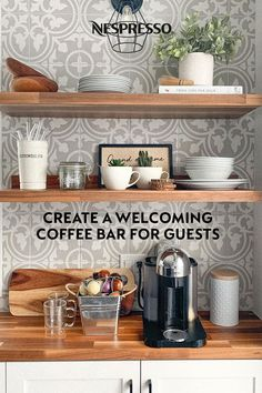 Hosting from home? Create a welcoming coffee bar for your guests with these tips. | 1. Store Nespresso capsules out in the open so they're easy to find in the morning. | 2. Stock up on add-ins, like sugar or milks, to accommodate different coffee preferences. | 3. Set out mugs the night before. That way, if guests wake up before you do, they won't have to search through cabinets to find a coffee cup. | Photo by: @llaurencejones on Instagram.
