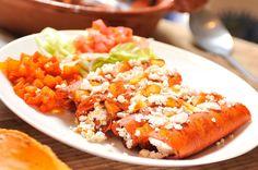 Enchiladas mineras, platillo típico de Guanajuato.