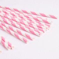 Strohhalme gestreift pink