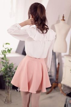 Japanese Fashion - Single color waist A word chiffon skirt - AddOneClothing - 6