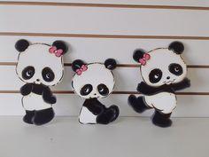 trio de pandas para decorar parede