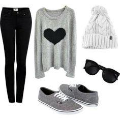 Grey sweater, black skinny jeans, grey vans, binnie and sunglasses