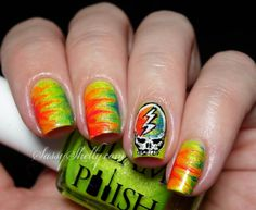 Grateful Dead Stealie - Glam Polish - dry marble nail art   |  Sassy Shelly