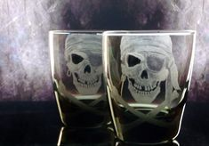 Pirate skull and crossbones smoke glass tumblers, custom barware , bar set , man cave, gifts for him or her engraved etched
