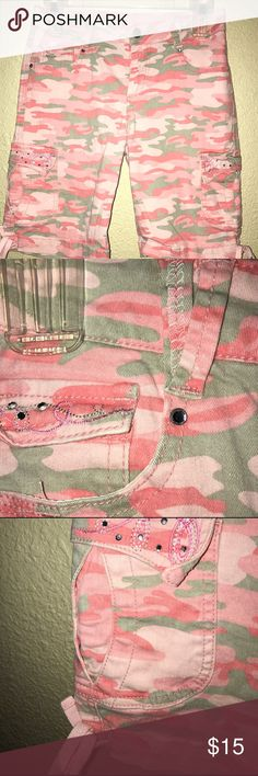 Arizona Jeans Company Shorts Pinks and Grays with Rhinestones on the pockets. Great condition.     Pockets in the front, back, and side.    (10) Arizona Jean Company Bottoms Shorts