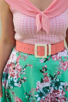 Liana of Finding Femme wears pink gingham pinup knit blouse from Review, pink Alannah Hill belt and mint and pink floral skirt and mint shoes from Modcloth.