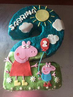 Number 2 Peppa Pig Birthday Cake