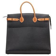 1994 Hermes Black Ardennes Leather & Brown Natural Leather Vintage Airport Bag