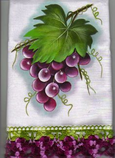 New Ideas For Crochet Edging Towel Ideas Fruit Painting, One Stroke Painting, Tole Painting, Fabric Painting, Painting & Drawing, Watercolor Paintings, Fabric Paint Designs, Fruit Art, Flower Art