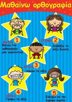 OPΘOΓPAΦIA Greek Language, School Themes, Special Education, Grammar, Preschool, Teacher, This Or That Questions, Learning, Kids