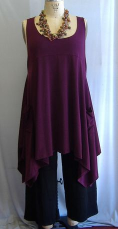Coco and Juan Plus Size Top Lagenlook Layering Tunic Top Cranberry Traveler  Knit Size 2 Fits 3X,4X  Bust  to 60 inches. $36.00, via Etsy.