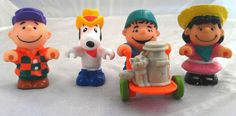 Vintage Peanuts farm set, 1966-1980's United Features Syndicate, Charlie Brown, Snoopy, Linus, Lucy, collectible farmer McDonald's figurines by SwankyDame, $15.00