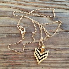 Cadet Necklace by TheHosfordHousewife.Etsy.com.  Cadet necklace, cadet pendant, chevron necklace, chevron pendant, layering necklace, long necklace