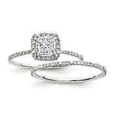 Certified 1.25 Ct. Princess Diamond Halo Bridal Engagement Ring Set 14K White Gold