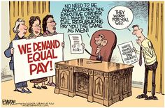 Rick McKee - The Augusta Chronicle - Equal Pay COLOR - English - Equal pay, women, war on women, income, Obama