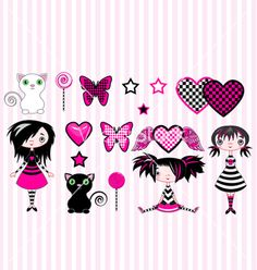 Emo girls on VectorStock