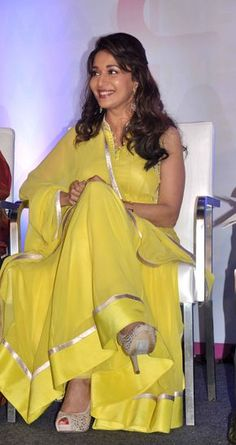Madhuri Dixit In A Simple Yellow #Anarkali.