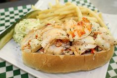 """Ballard's """"Naked"""" Lobster Roll - 1/2 LB of Maine Lobster, Drawn Butter and served with Fries"""