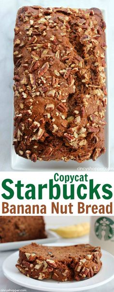 Copycat Starbucks Banana Nut Bread - CincyShopper Starbucks Banana Nut Bread Recipe, Banana Bread Recipes, Food Blogs, Delicious Desserts, Dessert Recipes, Yummy Food, Recipes Dinner, Cupcakes, Cupcake Cakes