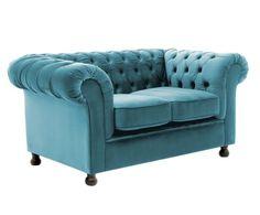 Sofá de 2 plazas en madera de haya Chester - azul