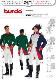 B2471Burda Style, Napoleon | Uniform jacket with peplum, two different types of collars, shoulder flaps, edging and borders. Combine with a v...