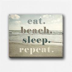 Beach Decor Canvas Wrap, Beach Gallery Wrap Canvas, Beach Quote, Beach Wall Art Canvas, Ocean, Eat Beach Sleep Repeat, Funny Beach Art. on Etsy, $60.00