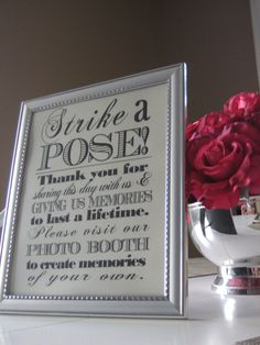 Printed Photobooth Reception Sign  Strike a Pose by EllaGentInk, $20.00